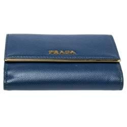 Prada Blue Saffiano Leather Metal Trifold Wallet