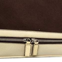 Prada Brown/Cream Canvas and Leather Cerniera Doctor Bag