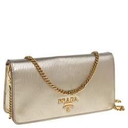 Prada Gold Textured Leather Flap Chain Clutch