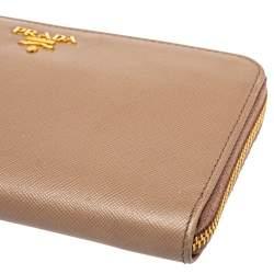 Prada Beige Saffiano Leather Zip Around Wallet