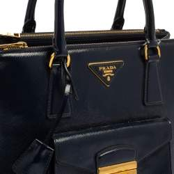 Prada Blue Saffiano Patent Leather Medium Front Pocket Double Zip Tote