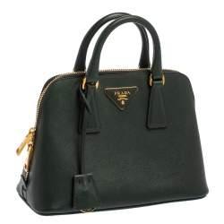 Prada Dark Green Saffiano Lux Leather Small Promenade Satchel