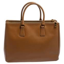 Prada Brown Saffiano Lux Leather Large Double Zip Tote