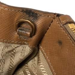 Prada Tan Saffiano Lux Leather Medium Galleria Double Zip Tote