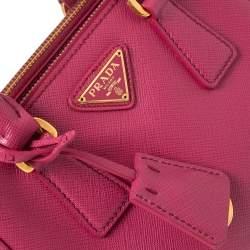 Prada Fuchsia Saffiano Lux Leather Micro Galleria Tote