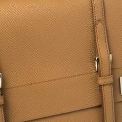 Prada Tan Saffiano Cuir Leather Double Turn Lock Top Handle Bag
