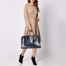 Prada Navy Blue Perforated Patent Leather Tote