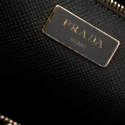 Prada Red/Black Leather And Saffiano Leather Double Zip Convertible Tote