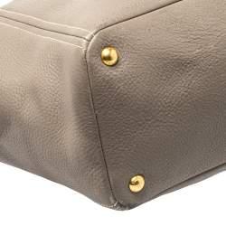 Prada Taupe Vitello Daino Leather Manici Shopper Tote