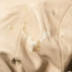 Prada Gold/Beige Stripe Leather Hobo