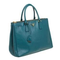 Prada Green Saffiano Lux Leather Medium Double Zip Tote