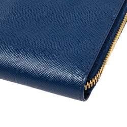 Prada Blue Saffiano Lux Leather Zip Around Continental Wallet