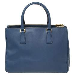Prada Blue Two Tone Saffiano Lux Leather Front Pocket Double Zip Tote
