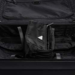 Prada Black Nylon and Saffiano Leather Trim 4 Wheel Luggage