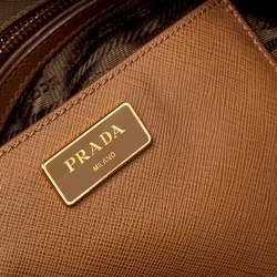 Prada Two Tone Saffiano Lux Leather Promenade Satchel