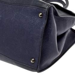 Prada Navy Blue Leather Sound Flap Tote