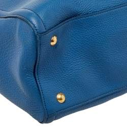 Prada Blue Vitello Daino Leather Tote