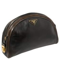 Prada Ombre Black Vitello Vintage Leather Large Dome Clutch