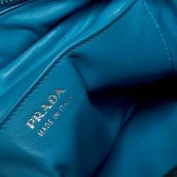 Prada Blue/Black Leather Vitello Daino Eye Satchel