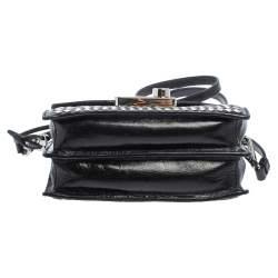 Prada Black/Silver Woven Leather Sound Crossbody Bag