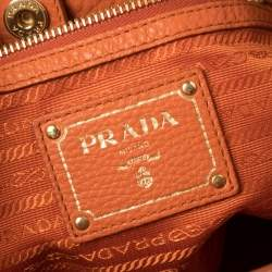 Prada Burnt Orange Vitello Daino Leather Snap Shoulder Bag
