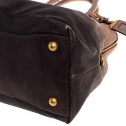 Prada Ombre Beige/Black Leather Dome Satchel