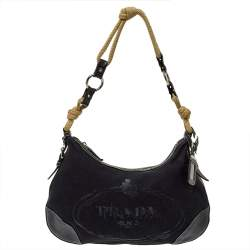 Prada Black Canvas And Leather Cruise Rope Baguette Bag