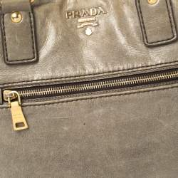 Prada Grey Soft Leather Front Zip Tote