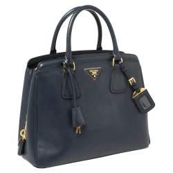 Prada Navy Blue Saffiano Lux Leather Parabole Tote