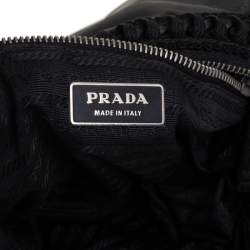 Prada Black Tessuto Nylon Embroidered Shoulder Baguette