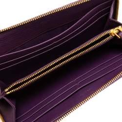Prada Purple Saffiano Lux Leather Zip Around Wallet
