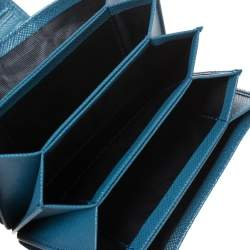 Prada Blue Saffiano Oro Leather Accordion Card Holder