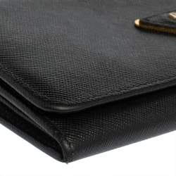 Prada Black Saffiano Leather Flap Continental Wallet
