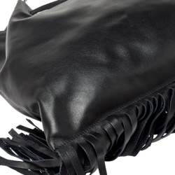 Prada Black Soft Leather Fringed Drawstring Shoulder Bag