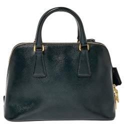 Prada Dark Green Saffiano Leather Small Promenade Satchel