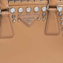 Prada Beige Saffiano Leather Crystal Embellished Pyramid Frame Satchel