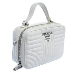 Prada White Leather Diagramme Shoulder Bag