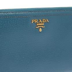 Prada Blue Leather Zip Around Wallet