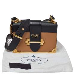 Prada Beige/Black Leather Cahier Flap Shoulder Bag