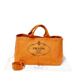 Prada Orange Logo Print Canvas Convertible Tote