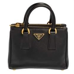 حقيبة كروس برادا صغيرة سحاب مزدوج جلد سافيانو أسود