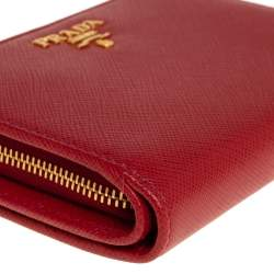 Prada Red Saffiano Metal Leather Compact Wallet