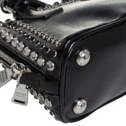 Prada Black Saffiano Patent Leather Stone Trim Promenade Bag