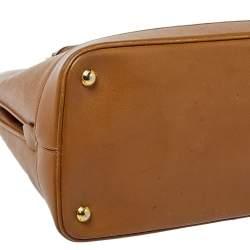 Prada Brown Saffiano Lux Leather Dome Satchel