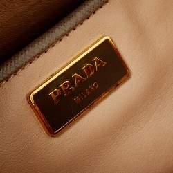 Prada Grey Saffiano Lux Leather Pyramid Frame Satchel