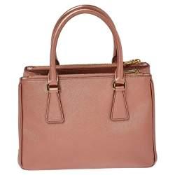 Prada Metallic Pink Saffiano Lux Leather Mini Galleria Tote