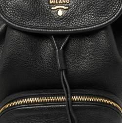 Prada Black Leather Drawstring Backpack