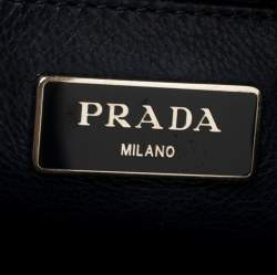 Prada Midnight Blue Glazed Leather Zip Tote