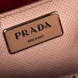 Prada Old Rose Saffiano Cuir Leather Twin Tote