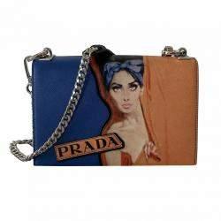 Prada Blue/Multicolor Saffiano Leather Print Frame Shoulder Bag